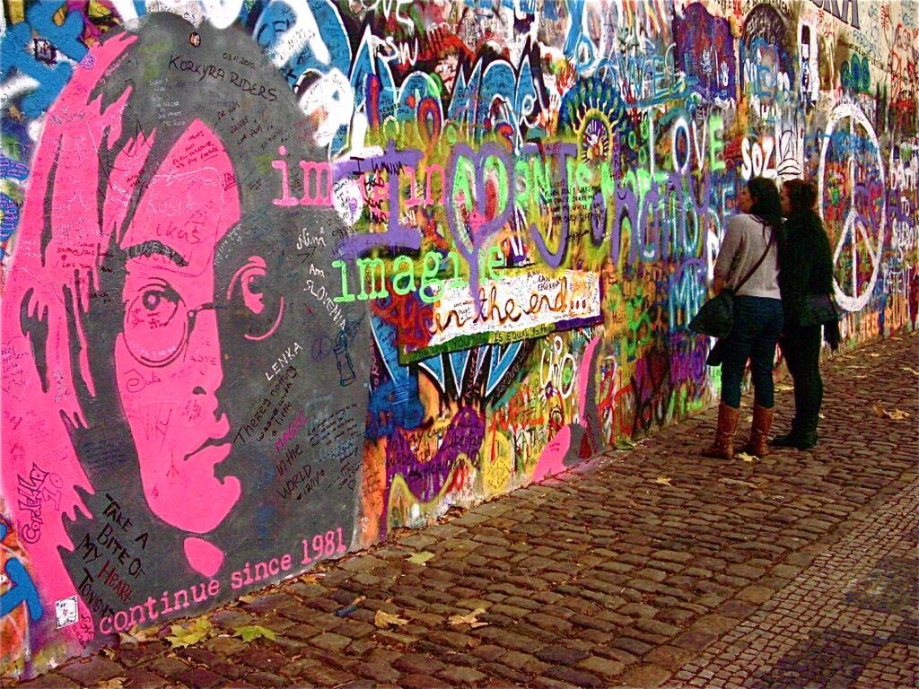 Vandals Deface John Lennon Mural In Prague