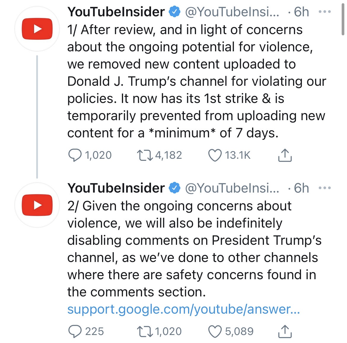 Trump Banned From YouTube Over Concerns Of 'Ongoing Potential For Violence'